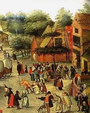 fête villageoise sous le tilleul à danser
