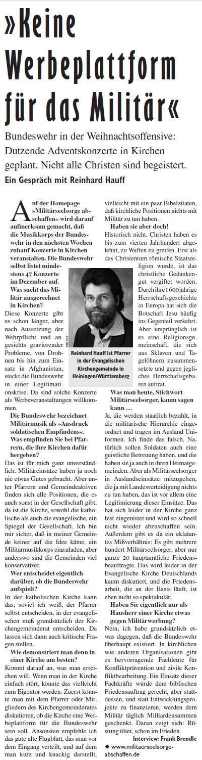 Pfarrer Reinhard Hauff, aus Heiningen bei Göppingen, gegen Militär-Musik-Konzerte in Kirchen. Interview in der Jungen Welt 2013.