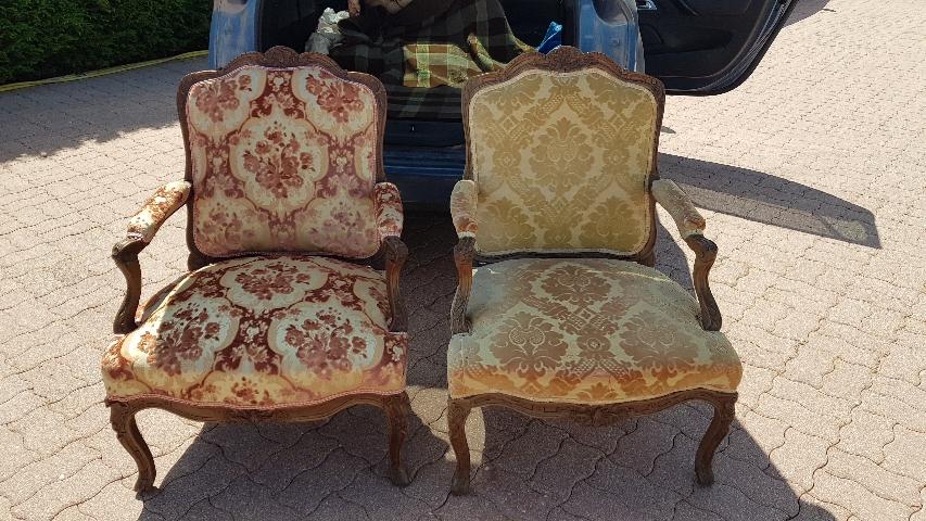 Réfection fauteuil velour d'Eugène /avant / après