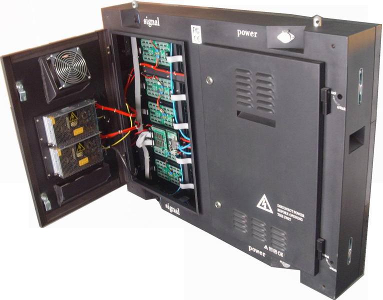 RGB-Modul [Edelstahl, IP65] Ansicht  Verkabelung, Pixelkarten, Stromversorgung