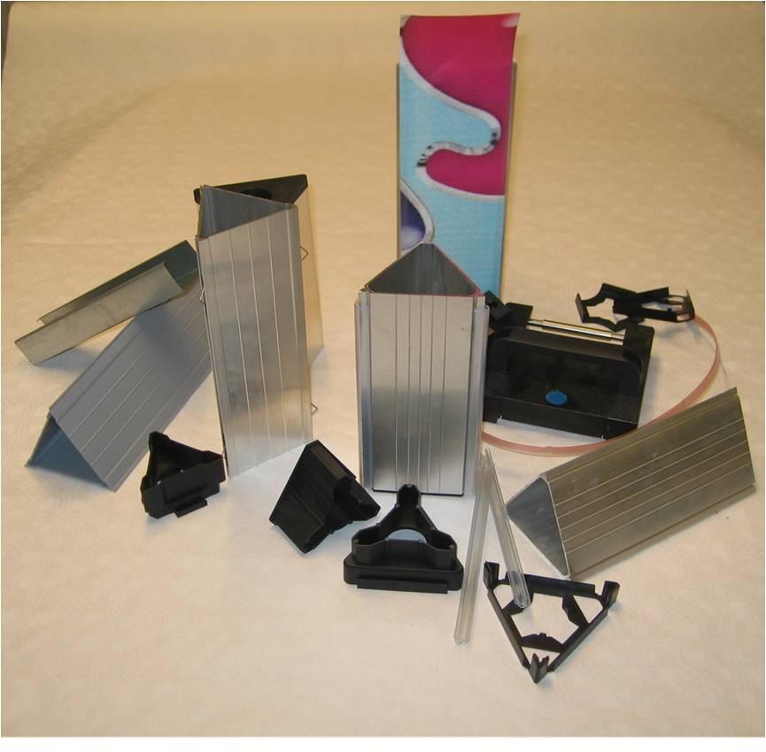 SLIP-IN Prismen in mehreren Varianten für jeden Einsatzzweck mit Papier (Indoor) oder Vinyl (Outdoor)
