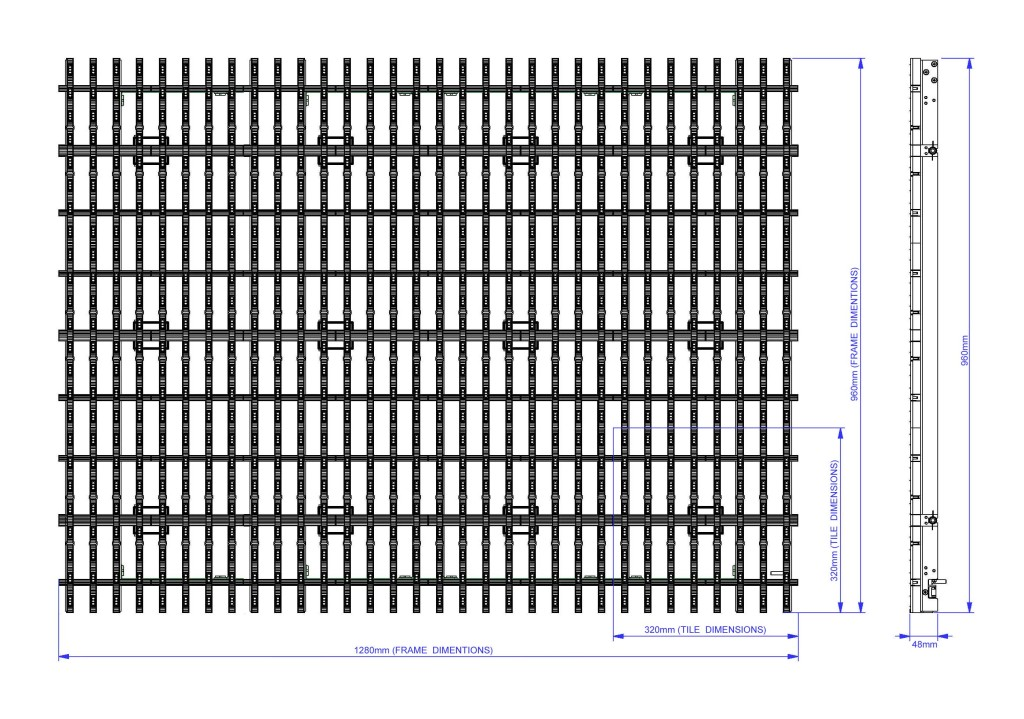 LED Vorhang Modul M40 (Leichtbauweise) Pixelabstand 40mm, transparent
