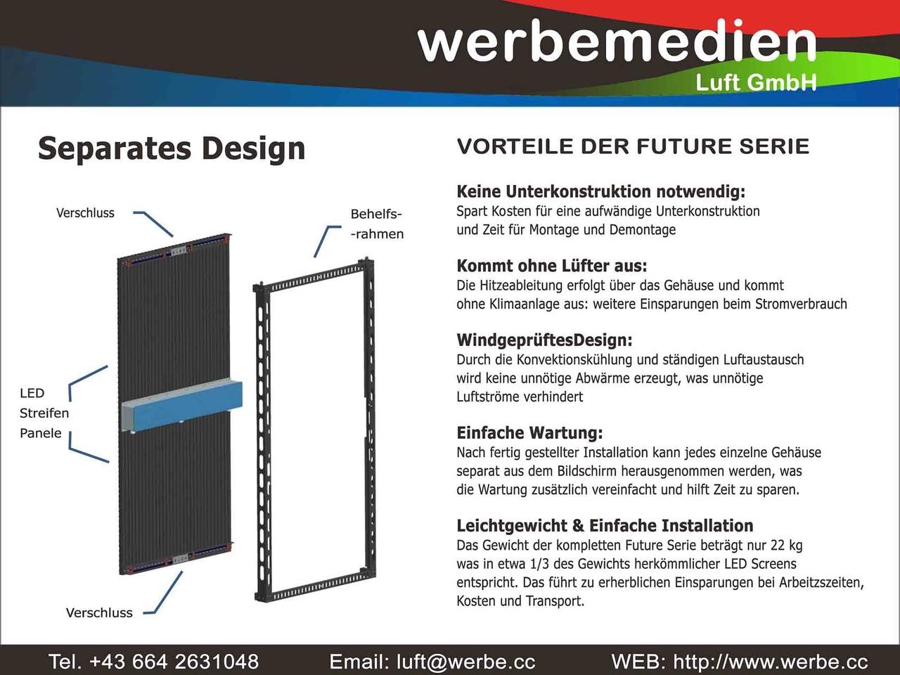 LED Future Vorhang mit separatem Behelfsrahmen spart Kosten bei der Montage