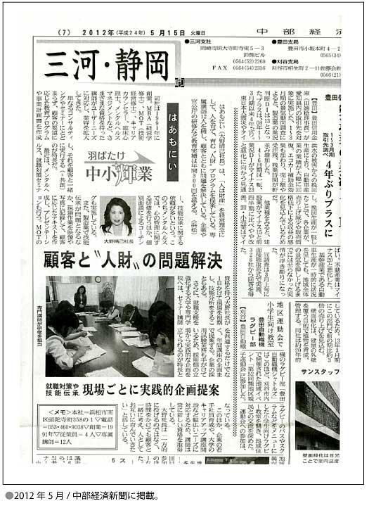 2012年5月15日 中部経済新聞に掲載