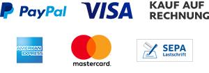Zahlungsarten, PayPal, Visa, American Express, Mastercard, Rechnung, Vorauskasse