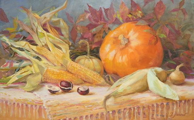 Herbst-Stillleben mit Kürbis 50x80, Öl auf Leinwand