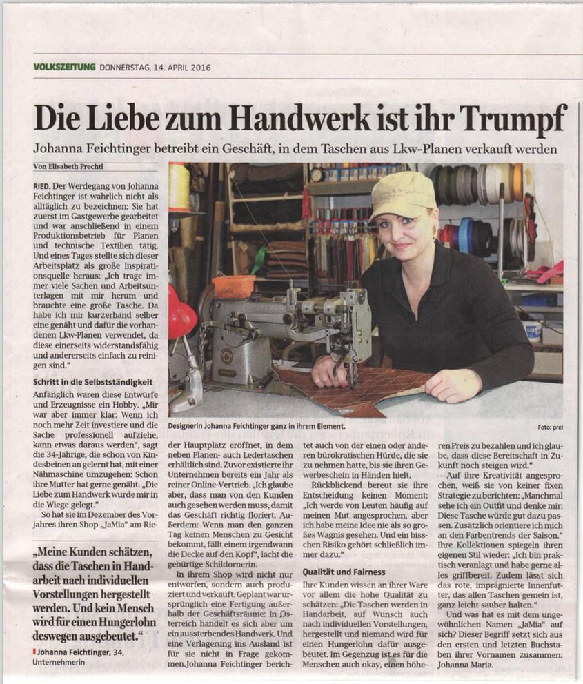 Bericht über JaMia® / Johanna Feichtinger in den OÖ Nachrichten / Volkszeitung