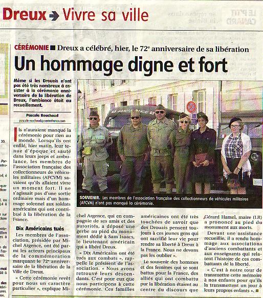 16 août 2016, commémoration de la libération de DREUX le 16/08/1944