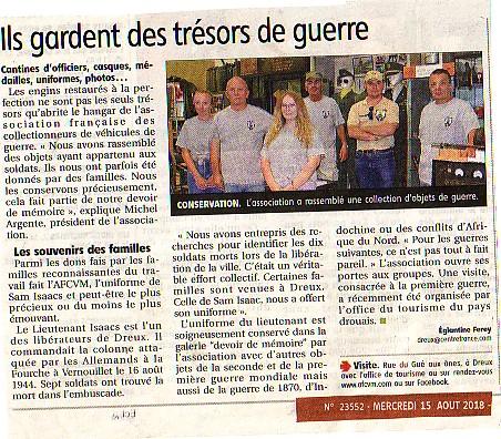 7 août 2018, accueil de 35 touristes guidés par l'Office du Tourisme de DREUX