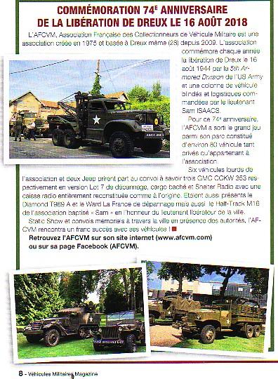 """Journal """"véhicules militaires n°83 octobre novembre 2018"""""""
