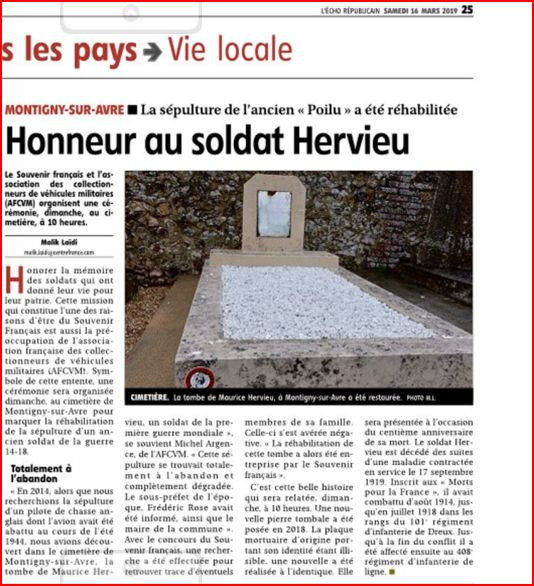 journal L'ECHO REPUBLICAIN de DREUX 16 mars 2019