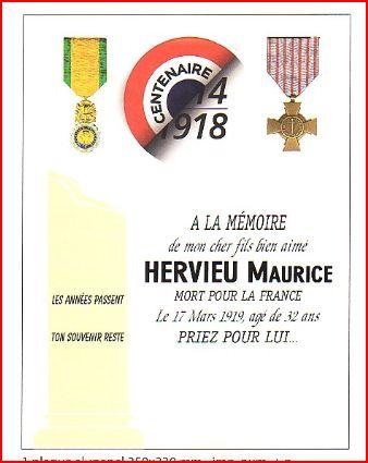 Nouvelle plaque mortuaire installée sur la tombe le 17 mars 2019 pour le Centième Anniversaire de la mort du Soldat HERVIEU. Paix à son âme.