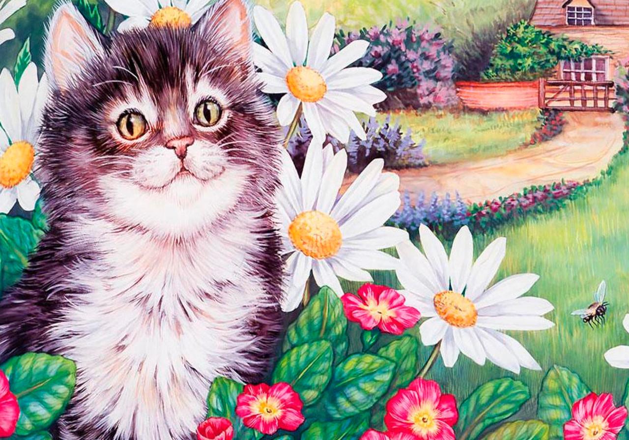 Вышивка из лент котенок