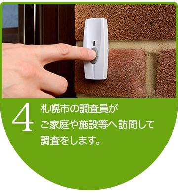 札幌市の調査員が ご家庭や施設等へ訪問して 調査をします。