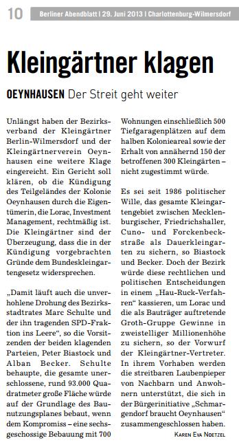 Mit Dank an das Berliner Abendblatt und die Autorin, Frau Nötzel, Abendblatt vom 29.06.2013
