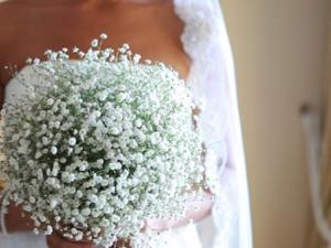 Bouquet de mariée rond, gypsophile, le clos des roses 40 euros