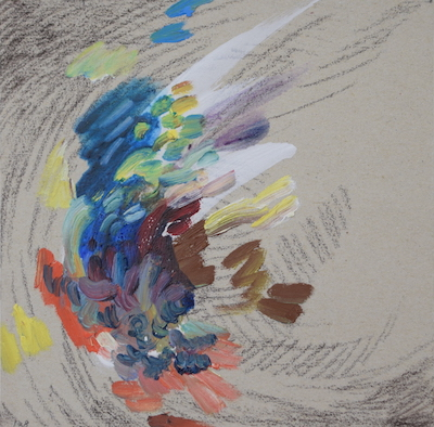1128  [Oil on paper, Gesso, Pencil, 15x15cm, 2019]