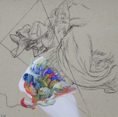 854  [Oil on paper, Gesso, Pencil, 15x15cm, 2019]