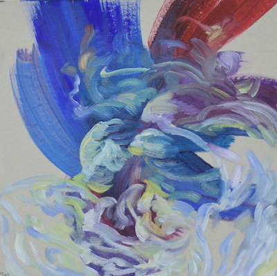 703  [Oil on paper, Gesso, Pencil, 15x15cm, 2019]