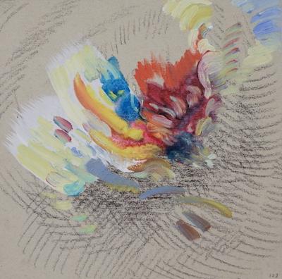 1123  [Oil on paper, Gesso, Pencil, 15x15cm, 2019]