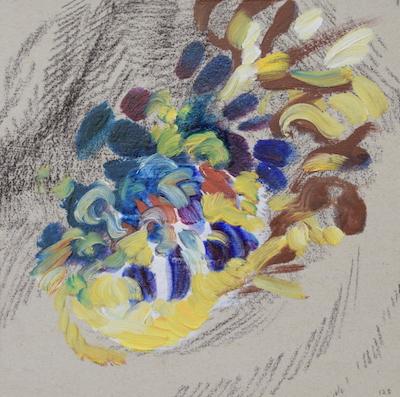 1125 [Oil on paper, Gesso, Pencil, 15x15cm, 2019]