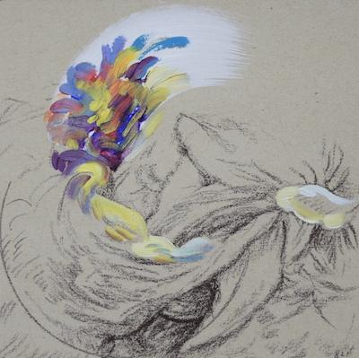 821  [Oil on paper, Gesso, Pencil, 15x15cm, 2019]
