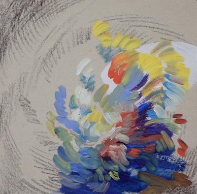 1127  [Oil on paper, Gesso, Pencil, 15x15cm, 2019]