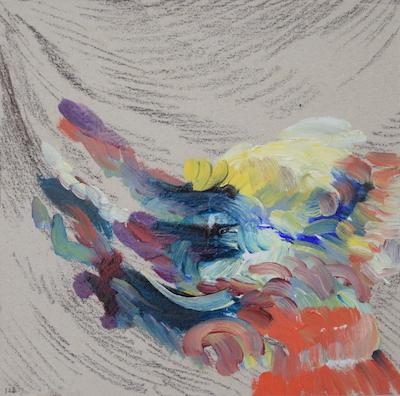 1126  [Oil on paper, Gesso, Pencil, 15x15cm, 2019]