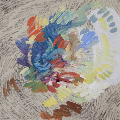 1124  [Oil on paper, Gesso, Pencil, 15x15cm, 2019]