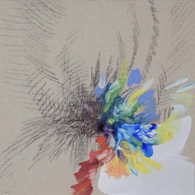 1121  [Oil on paper, Gesso, Pencil, 15x15cm, 2019]