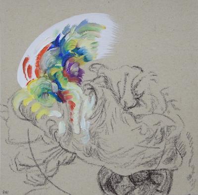 841  [Oil on paper, Gesso, Pencil, 15x15cm, 2019]
