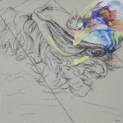 845  [Oil on paper, Gesso, Pencil, 15x15cm, 2019]