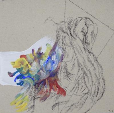 918  [Oil on paper, Gesso, Pencil, 15x15cm, 2019]