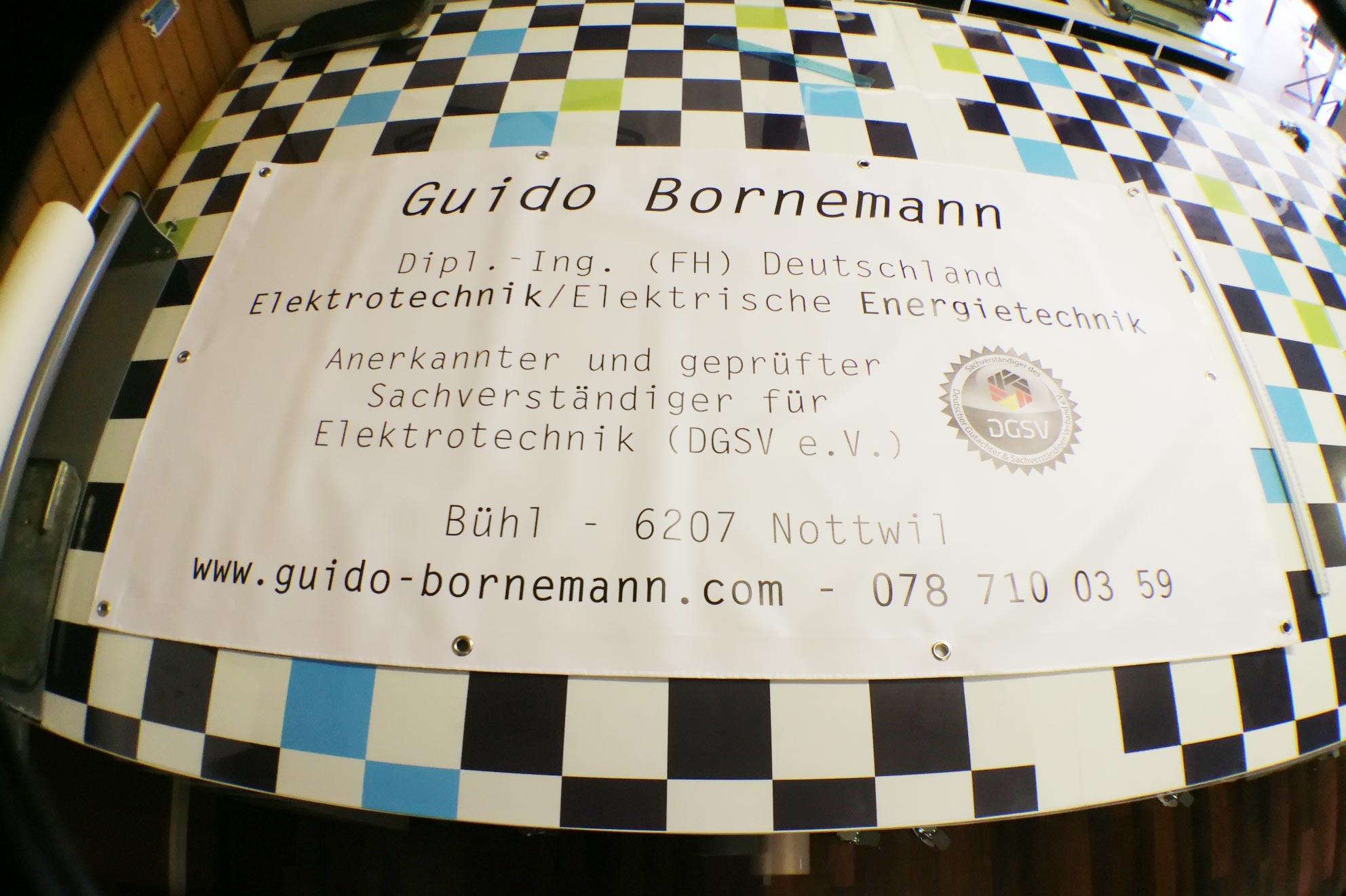 Bedruckter Werbebanner für Guido Bornemann