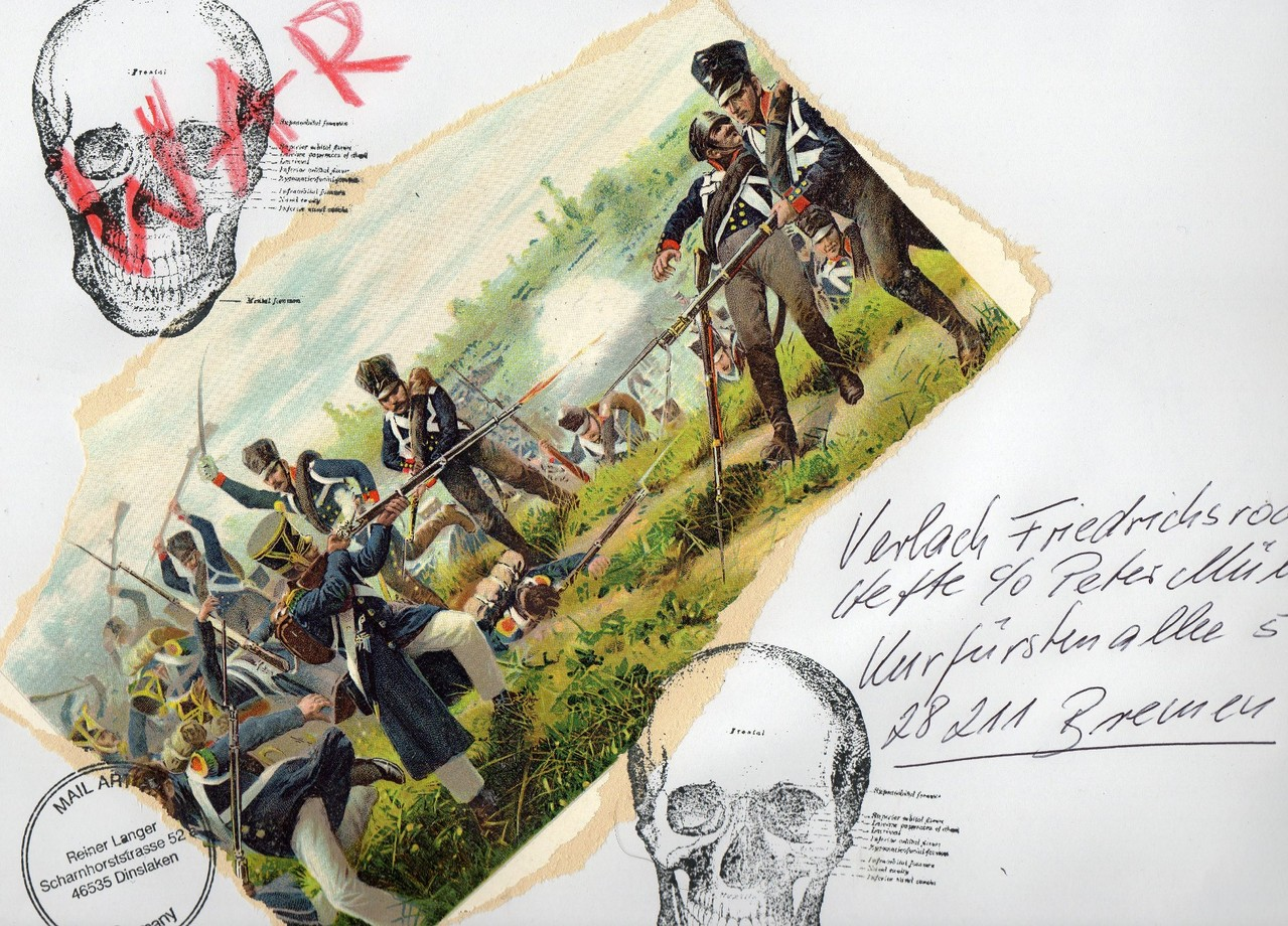 """AUSGEHENDE MAIL ART PROJEKT """" WAR """"   An PETER MÜLLER Verlach Friedrichsrodaer Hefte, Bremen"""