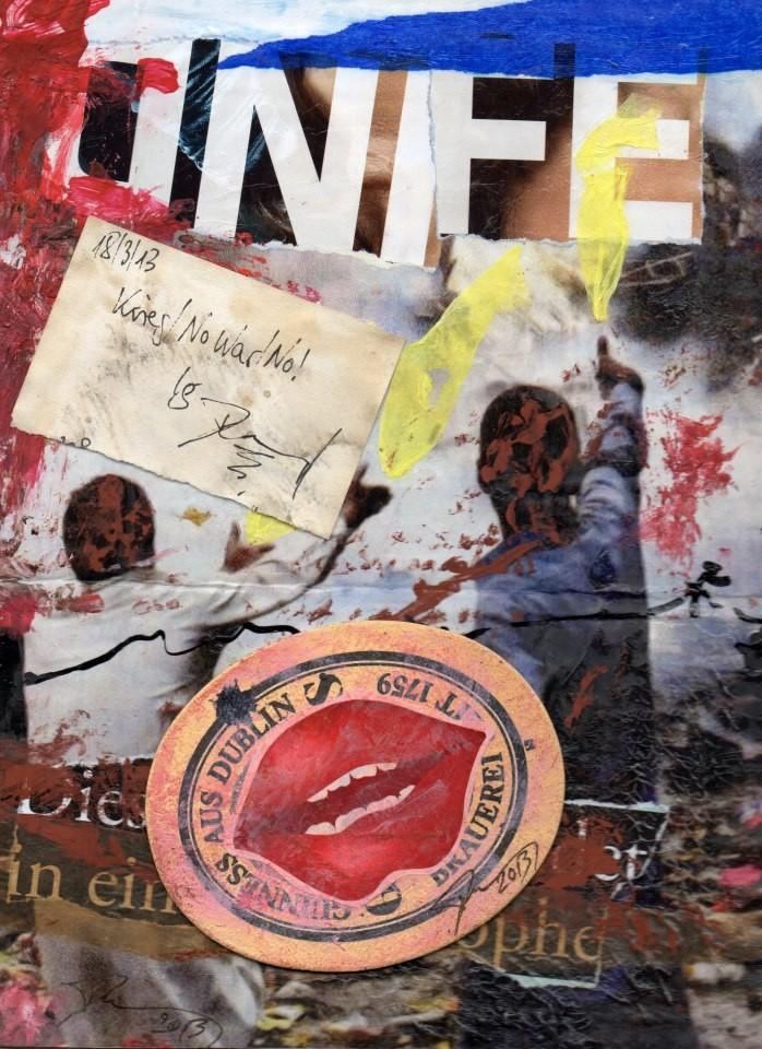"EINGEHENDE MAIL ART PROJEKT "" WAR ""   Copyright Bernard Bieling"