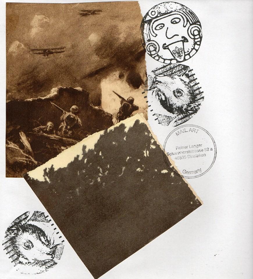"""Ausgehende MAIL - ART Projekt AGAINST """" WAR """" by Reiner Langer   an Jean - Francoise Vigeon , FRANKREICH"""