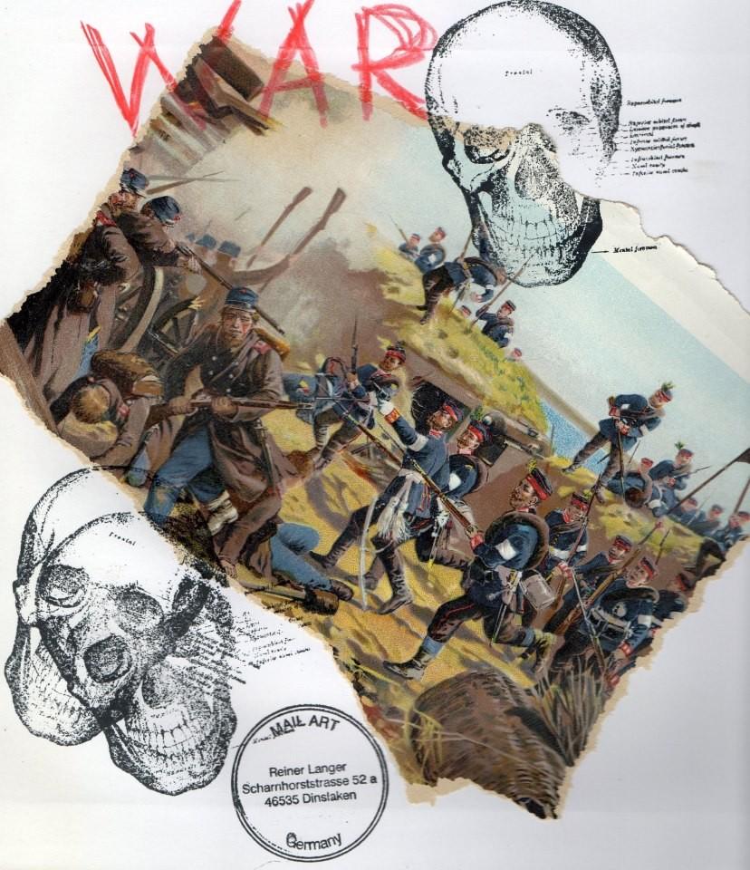 """AUSGEHENDE MAIL ART PROJEKT """" WAR """"  An Bernard Bieling"""