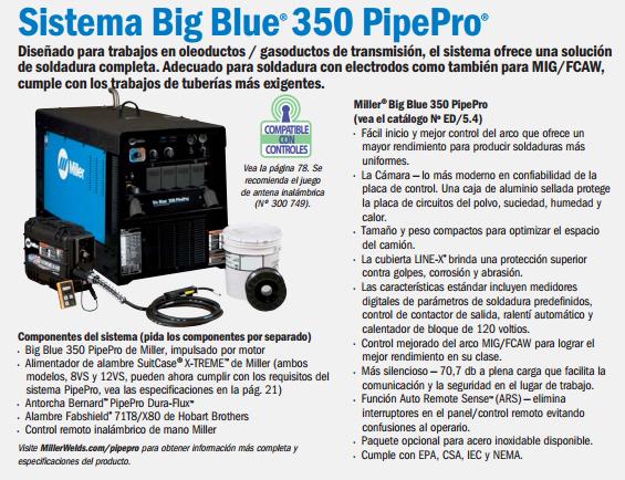 Soldadora Miller Big Blue 350 PipePro