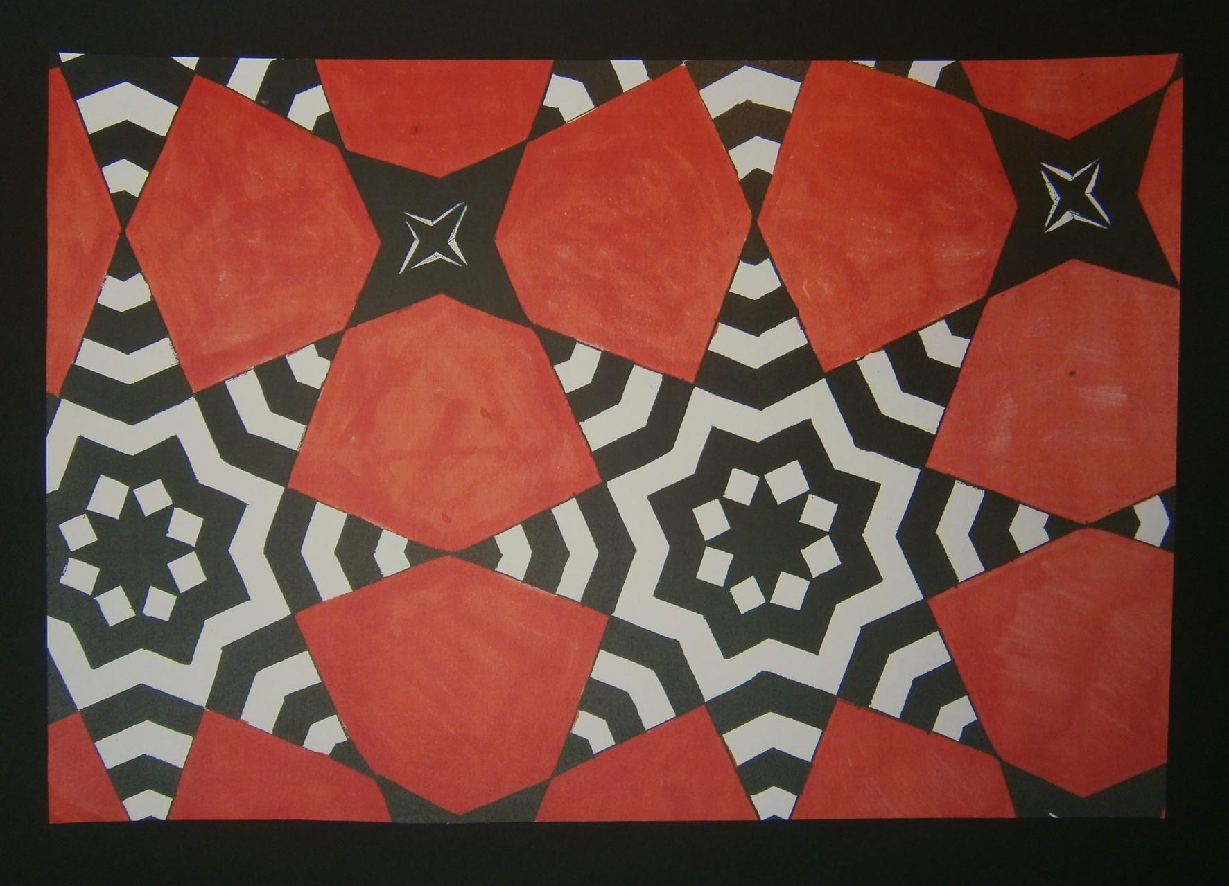 Mozaïek waarvan de achtpuntige sterren zijn versierd met een stervormig zebrapatroon