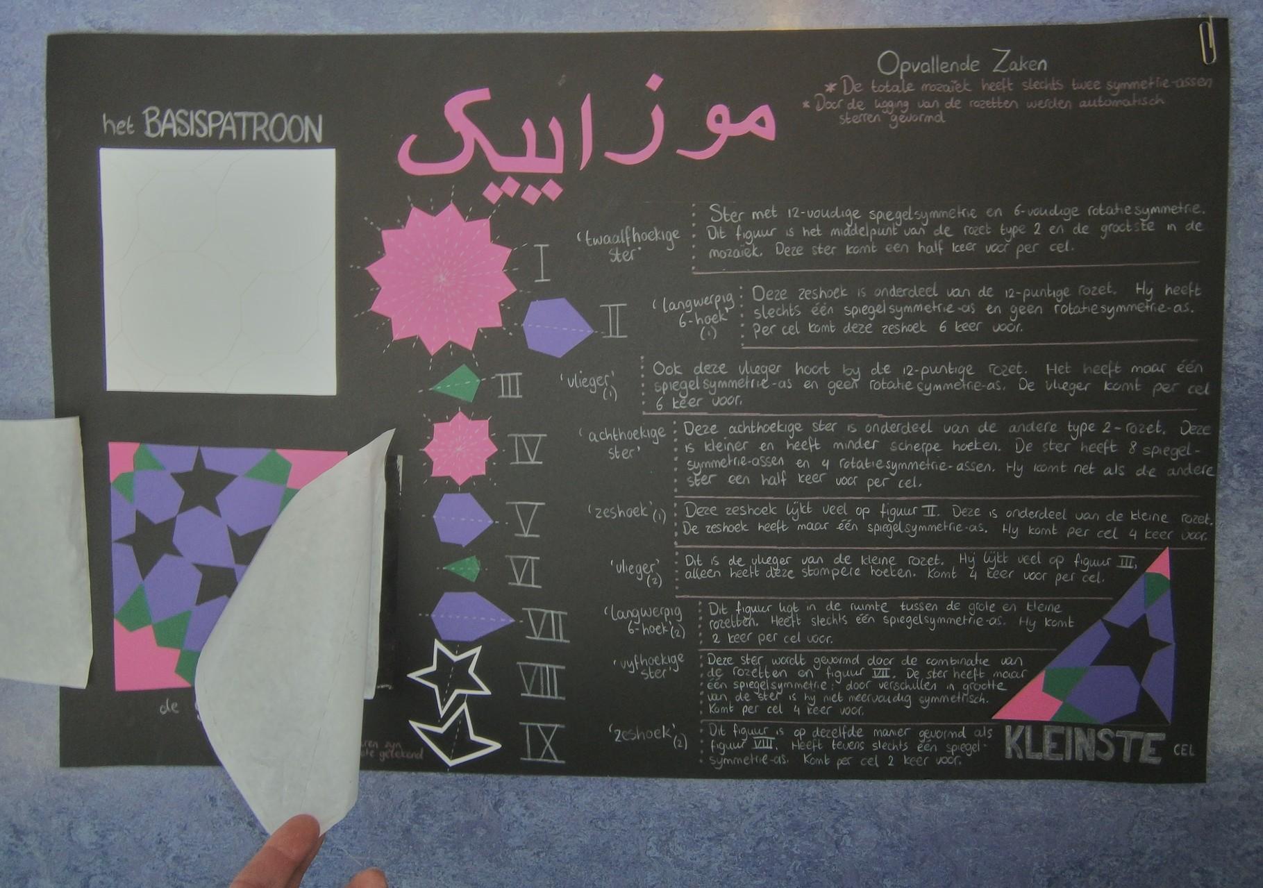 Deze poster heeft de titel 'Mozaïek' (fonetisch in Arabisch schrift) en bespreekt dit . . .