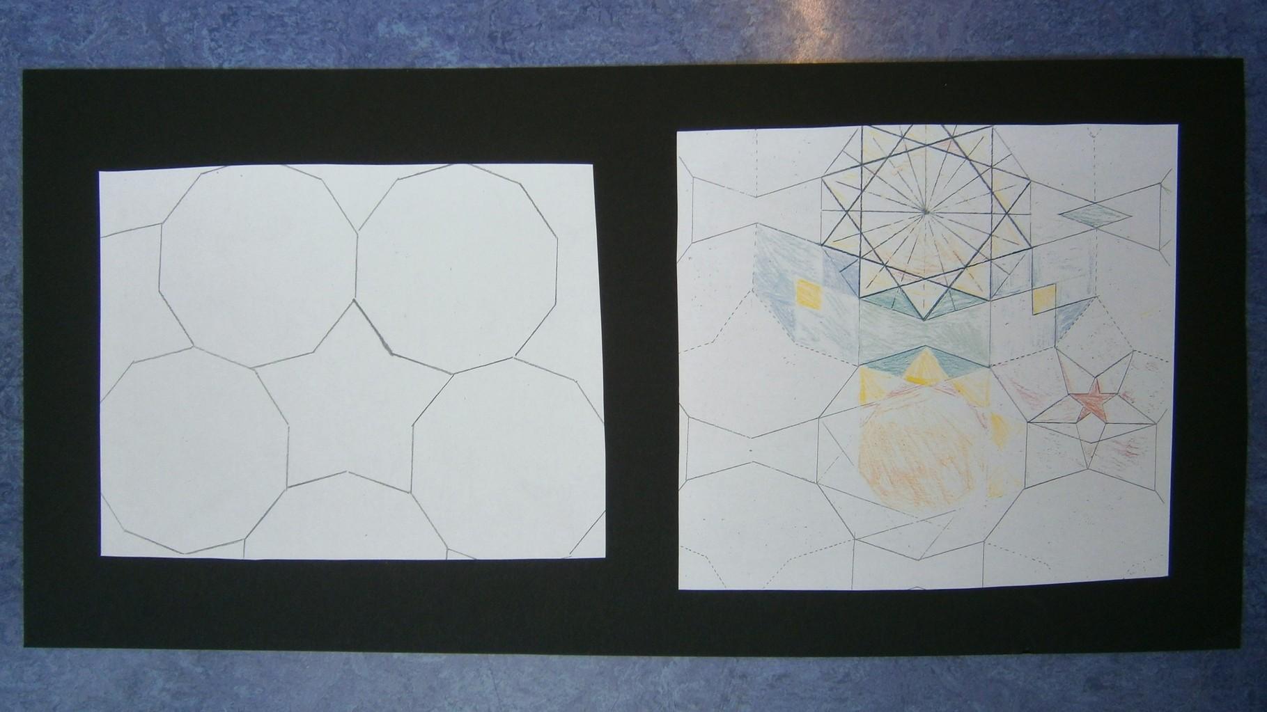 Eerste ontwerppoging van deze groep met een interessant basispatroon liep vast doordat de sterren onjuist in de veelhoeken waren geplaatst. Tweede poging ging beter: . . .
