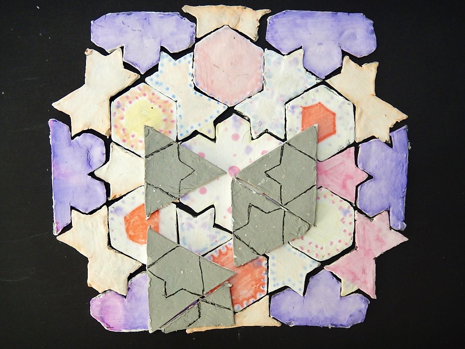 De relatie tussen de driehoeken (kleinste cel) en de gekleurde vormpjes