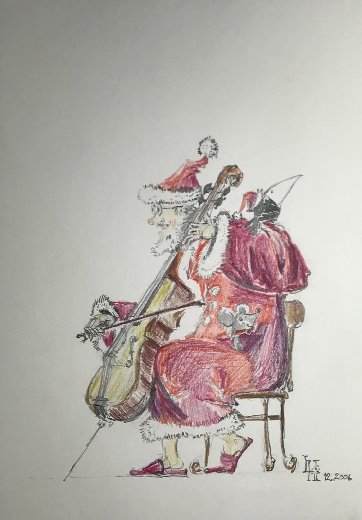 Musikempfang für Nikolaus  -  Farbzeichnung 21x30 cm