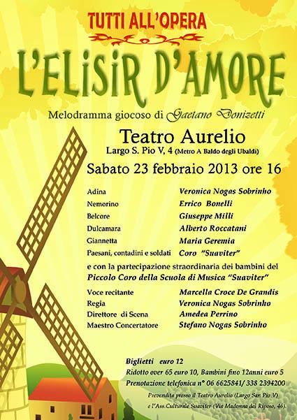 Volantino dell'opera L' Elisir d'Amore organizzato dalla Scuola di Musica Suaviter