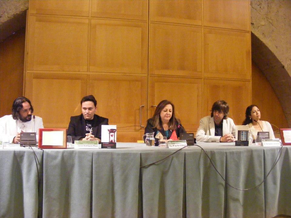 Entrega del primer premio Alhambra de Poesía Americana, con Mario Bojórquez, Roxana Méndez, Fernando Valverde y Mar Villafranca.