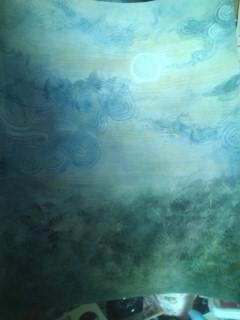 「朧月」 水彩絵の具使用