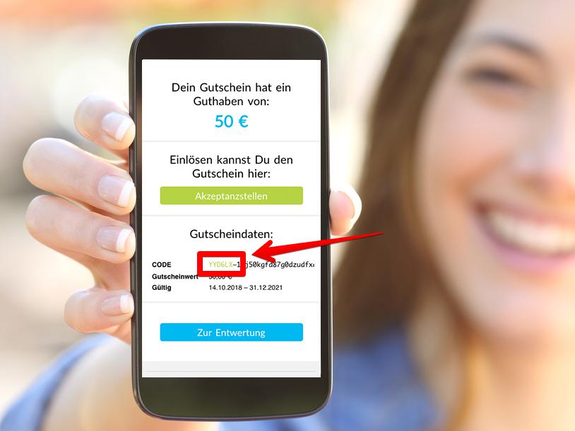 Online gekaufter Stadtgutschein auf Kundenhandy (Demo)