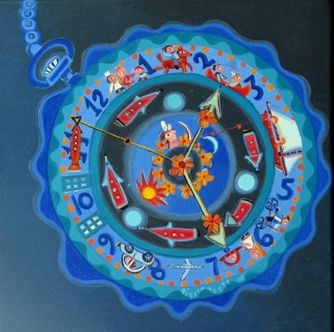 Horloge- 08, 30 x30 cm, 330$  -   © Alain Bissonnette tous droits réservés