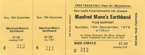 Ticket - Free Trade Hall Manchester 19-9-76